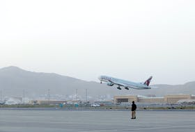 The first international flight since the withdrawal of U.S. troops from Afghanistan takes off from the international airport in Kabul, Afghanistan, September 9, 2021. WANA (West Asia News Agency) via REUTERS