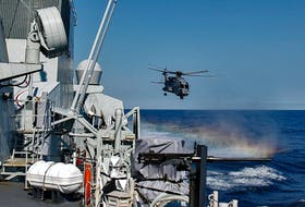 FOR NEWS PAGE: A  CH-148 Cyclone lifts off from HMCS Toronto, after dropping off passengers and equipment as the ship takes part in Cutlass Fury 21, off the south shore of Nova Scotia Monday September 13, 2021. Twelve navy ships from Canada, the United States, and France, as well as 20 aircraft, are taking part in the exercise which is held to support the inter-operability of allied forces in a number of attack and interdiction scenarios and to keep up with the high level of training needed for their crews.  TIM KROCHAK PHOTO