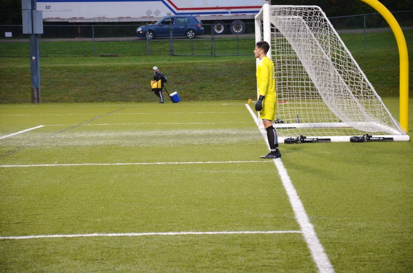 UPEI Panthers keeper Evan Couturier in action during the team's season-opening game against the St. Francis Xavier X-Men at UPEI on Sept. 10. Couturier registered a six-save shutout in UPEI's 1-0 road win versus the Moncton Blue Eagles on Sept. 12. - Jason Simmonds