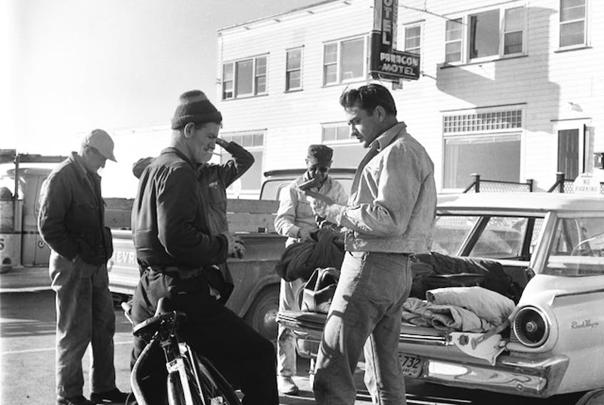Many local people had the opportunity to meet and chat with Johnny Cash during his 1961 tour and moose hunting trip in Newfoundland. Cash is pictured here outside the Paragon Motel in Grand Falls-Windsor.