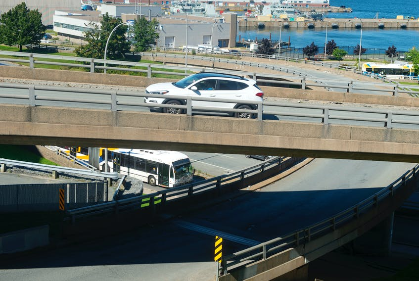 Vehicles pass through the Cogswell Interchange on Tuesday, Sept. 14, 2021.