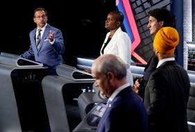 Federal party leaders take part in the English-language debate in Gatineau on Sept. 9, 2021.
