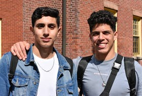 UPEI students Amine Rabti, left, and Abdelrahman Gabry worry lack of on campus voting adds additional barriers and will lead to students opting not to vote.