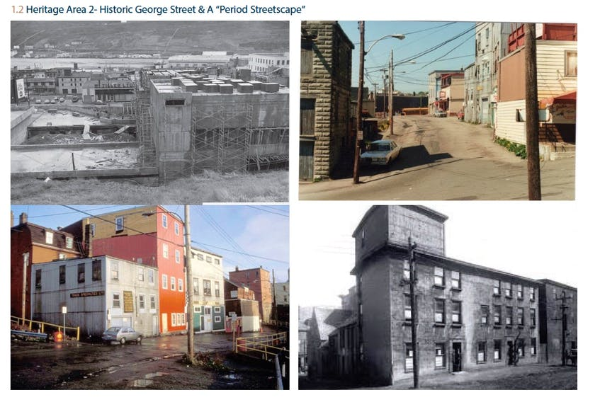 Historical photos of George Street — presented to the city by Tiller Holdings, the company developing the former Sundance property on George Street — show the various exterior facades of buildings on the street over the years.