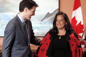 Prime Minister Justin Trudeau with Jody Wilson-Raybould the day it was announced she was being moved to veterans affairs minister from justice minister, January 14, 2019.