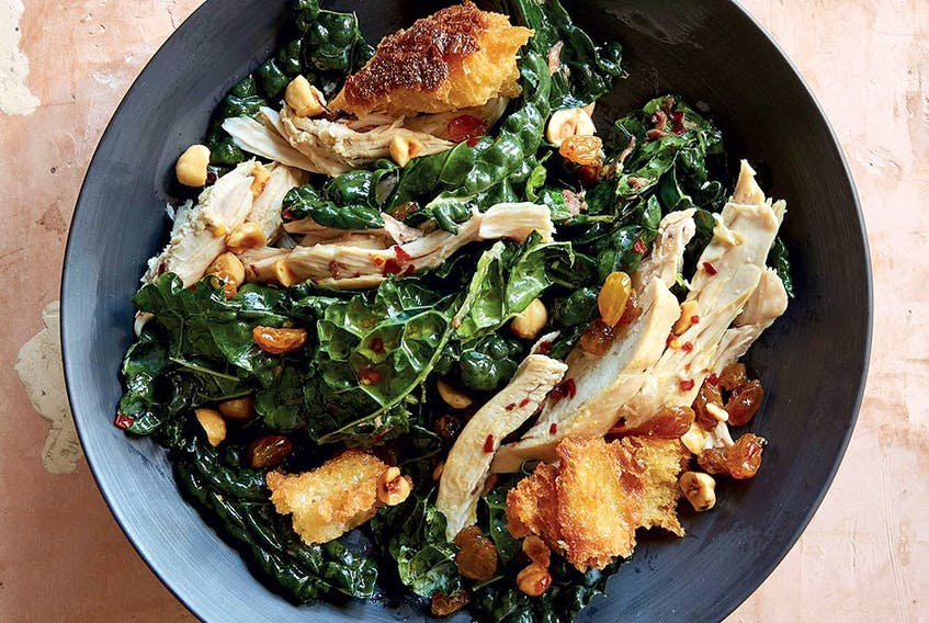 Warm kale and chicken salad with toasted hazelnuts and croutons from Antoni: Let's Do Dinner.