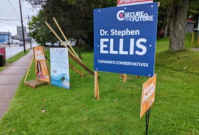 This picture was taken not long after the Nova Scotia general election at a popular corner for posting signs at Young and Brunswick streets in Truro. Darlene DeAdder ran for the Nova Scotia NDP's in the provincial riding of Truro-Bible Hill-Millbrook-Salmon River, while Dr. Stephen Ellis is currently running for the Conservative Party of Canada in the federal riding of Cumberland-Colchester.