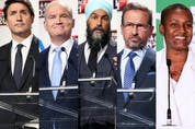 From left: Liberal Leader Justin Trudeau, Conservative Leader Erin O'Toole, NDP Leader Jagmeet Singh, Bloc Québécois Leader Yves-François Blanchet and Green Party Leader Annamie Paul.