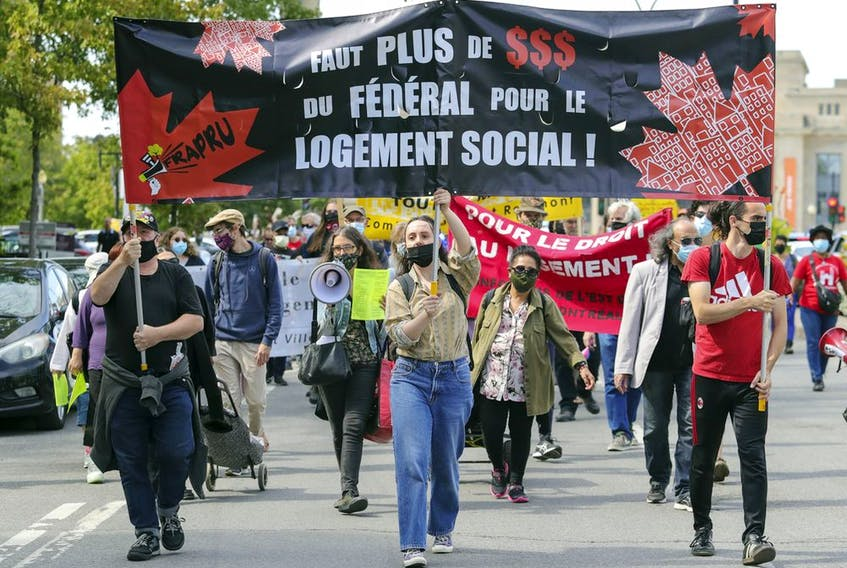 The need for affordable housing has become one of the top issues in the current federal election. On Tuesday, Sept. 14, 2021, housing activists marched down Parc Ave. to Liberal Leader Justin Trudeau's riding office to demand action.