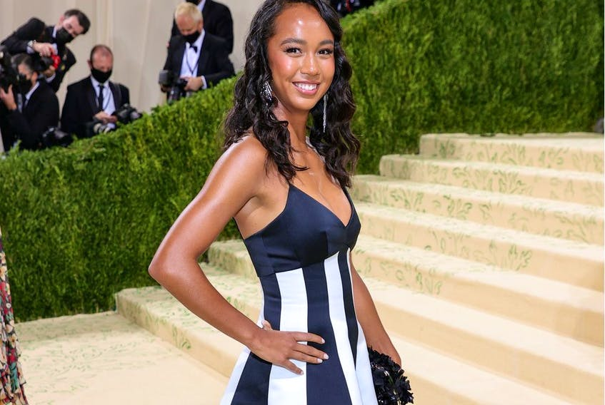 Leylah Fernandez attends The 2021 Met Gala Celebrating In America: A Lexicon Of Fashion at Metropolitan Museum of Art on September 13, 2021, in New York City.