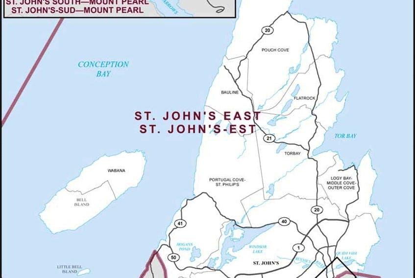 A look at the riding map for St. John's East.