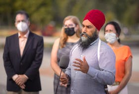 NDP leader, Jagmeet Singh, is joined by local NDP candidates, Brian Masse, Stacey Ramsay, and Cheryl Hardcastle, as he makes a campaign stop in Windsor at Coventry Gardens, on Wednesday, August 25, 2021.