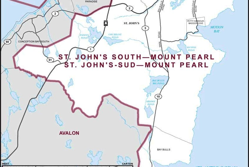 A map of the riding of St. John's South-Mount Pearl.
