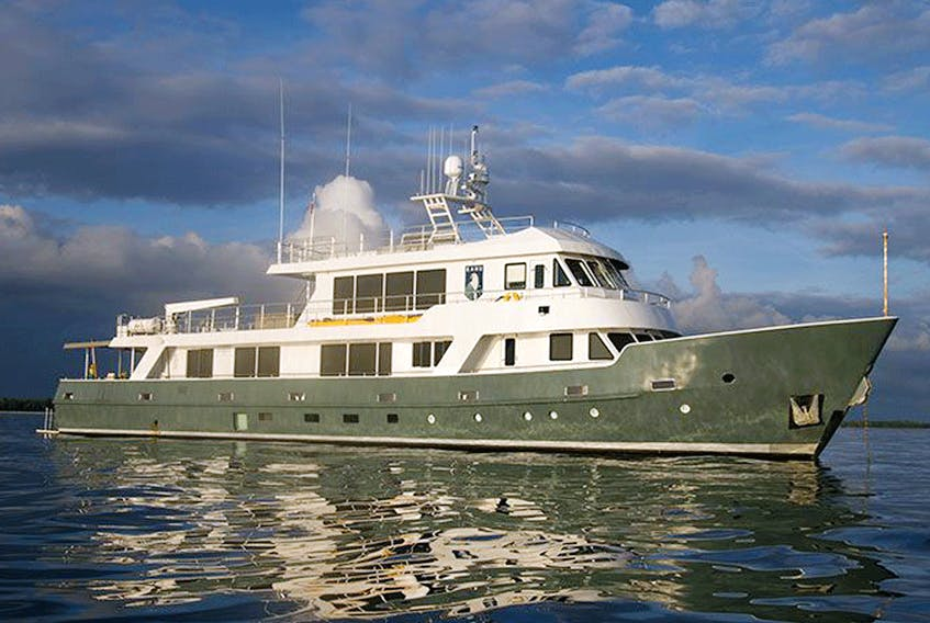 The Kahu when it was up for sale. The British government will now likely sell the ship — if it is confiscated as criminal proceeds.