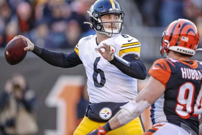 Devlin Hodges #6 of the Pittsburgh Steelers throws the ball during the second half against the Cincinnati Bengals at Paul Brown Stadium on November 24, 2019 in Cincinnati, Ohio.
