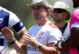 U.S. men's rugby head coach Mike Friday talks with the team during training at the Olympic Training Center on July 14, 2016, in Chula Vista, Calif.