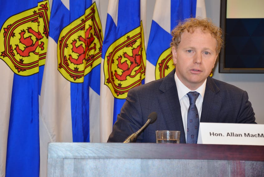 Finance Minister Allan MacMaster provides a look at Nova Scotia's public accounts during a briefing Thursday, Sept. 16, 2021, at One Government Place in downtown Halifax. The financial statements close the province's books on fiscal 2020-21.