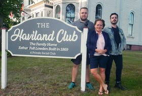 Laurie Murphy, centre, HA Club artistic director and improv teacher, is joined by Dylan Smith, left, and Michael Peters at The Haviland Club in Charlottetown. On Sept. 17, the club will hold its 25th anniversary reception, hosted by Charlottetown Mayor Philip Brown and club president Jamie Trainor.