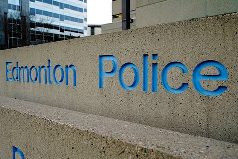 Stock photo of Edmonton Police Service (EPS) logo at downtown headquarters. (PHOTO BY LARRY WONG/POSTMEDIA)