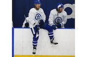 Toronto Maple Leafs forward William Nylander (88) waits his chance to hit the ice at their practice facility in Etobicoke on Wednesday September 15, 2021. Jack Boland/Toronto Sun/Postmedia Network