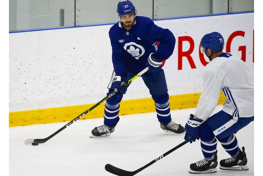 Toronto Maple Leafs defenceman Timothy Liljegren (37) fires a puck across the ice at their practice facility in Etobicoke on Wednesday September 15, 2021. Jack Boland/Toronto Sun/Postmedia Network