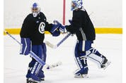 Toronto Maple Leafs goalie tandem of Petr Mrazek (left) and Jack Campbell switch off the ice during a scrimmage at their practice facility in Etobicoke on Wednesday September 15, 2021. Jack Boland/Toronto Sun/Postmedia Network