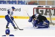 Toronto Maple Leafs  goalie Petr Mrazek defends the front of his crease at their practice facility in Etobicoke on Wednesday September 15, 2021. Jack Boland/Toronto Sun/Postmedia Network