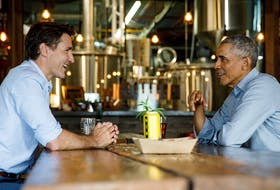 Justin Trudeau and former U.S. President Barack Obama meet at Big Rig brewery in Kanata, Ontario, on May 31, 2019. (Adam Scott/Prime Minister's Office/Handout )