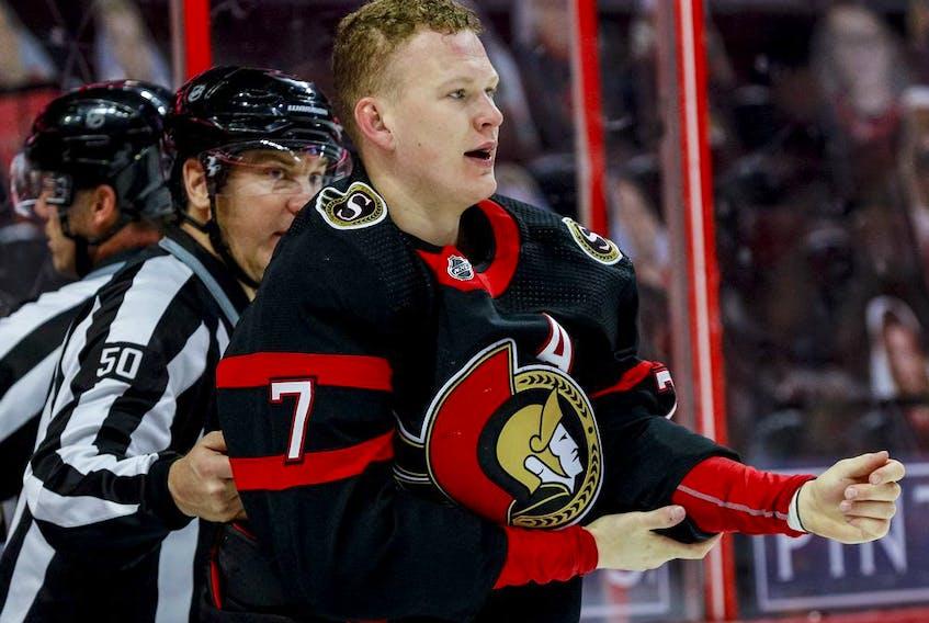 File photo/ Ottawa Senators left wing Brady Tkachuk.