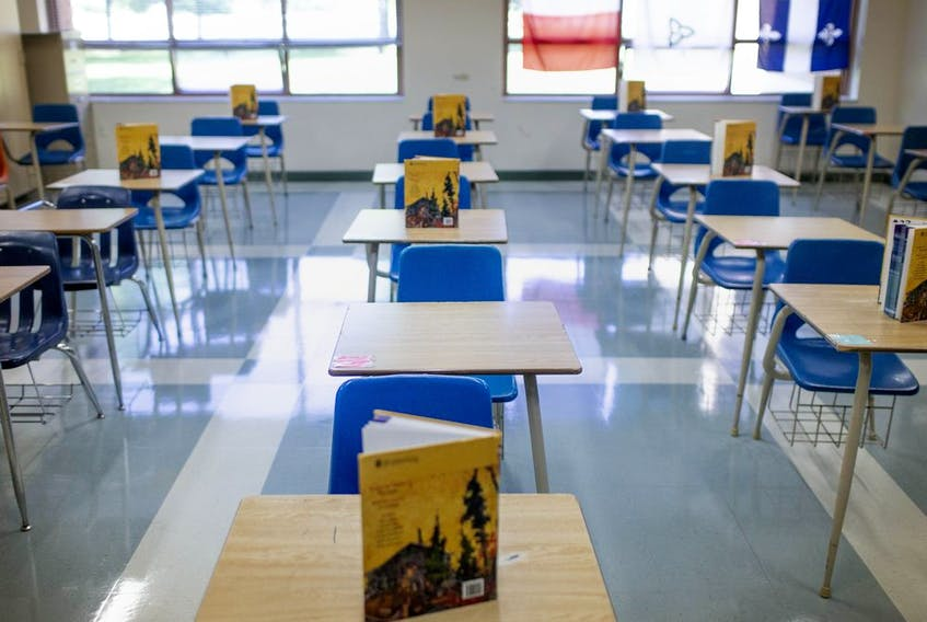 Shown here on Aug. 6, 2020, is a classroom with social distancing measures in place at St. Thomas of Villanova Catholic High School.