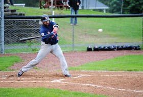 Josh Forrest of the Sydney Sooners watches the ball come in during Nova Scotia Senior Baseball League playoff action at Memorial Park in Kentville earlier this month. Forrest and the Sooners will open the league championship series this weekend in Dartmouth. JASON MALLOY • SALTWIRE NETWORK
