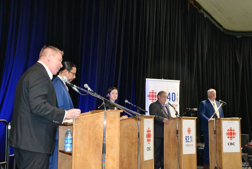 Five of the six candidates running in Sydney-Victoria participated in the debate hosted by CBC Cape Breton on Wednesday night at Centre 200 in Sydney. Pictured left to right: Jaime Battiste (Liberal), Jeff Ward (NDP), Nikki Boisvert (Marxist-Leninist Party), Ronald Barron (PPC), and Eddie Orrell (Conservative). Mark Embrett of the Green Party was absent. ARDELLE REYNOLDS/CAPE BRETON POST