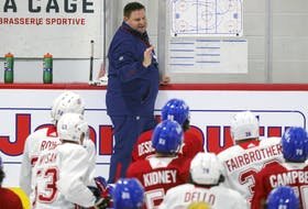 New Laval Rocket head coach Jean-Francois Houle runs the first day of Montreal Canadiens' rookie camp at the Bell Sports Complex in Brossard on Sept. 16, 2021.