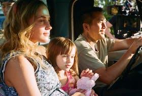 Alicia Vikander, Sydney Kowalske and Justin Chon in Blue Bayou.