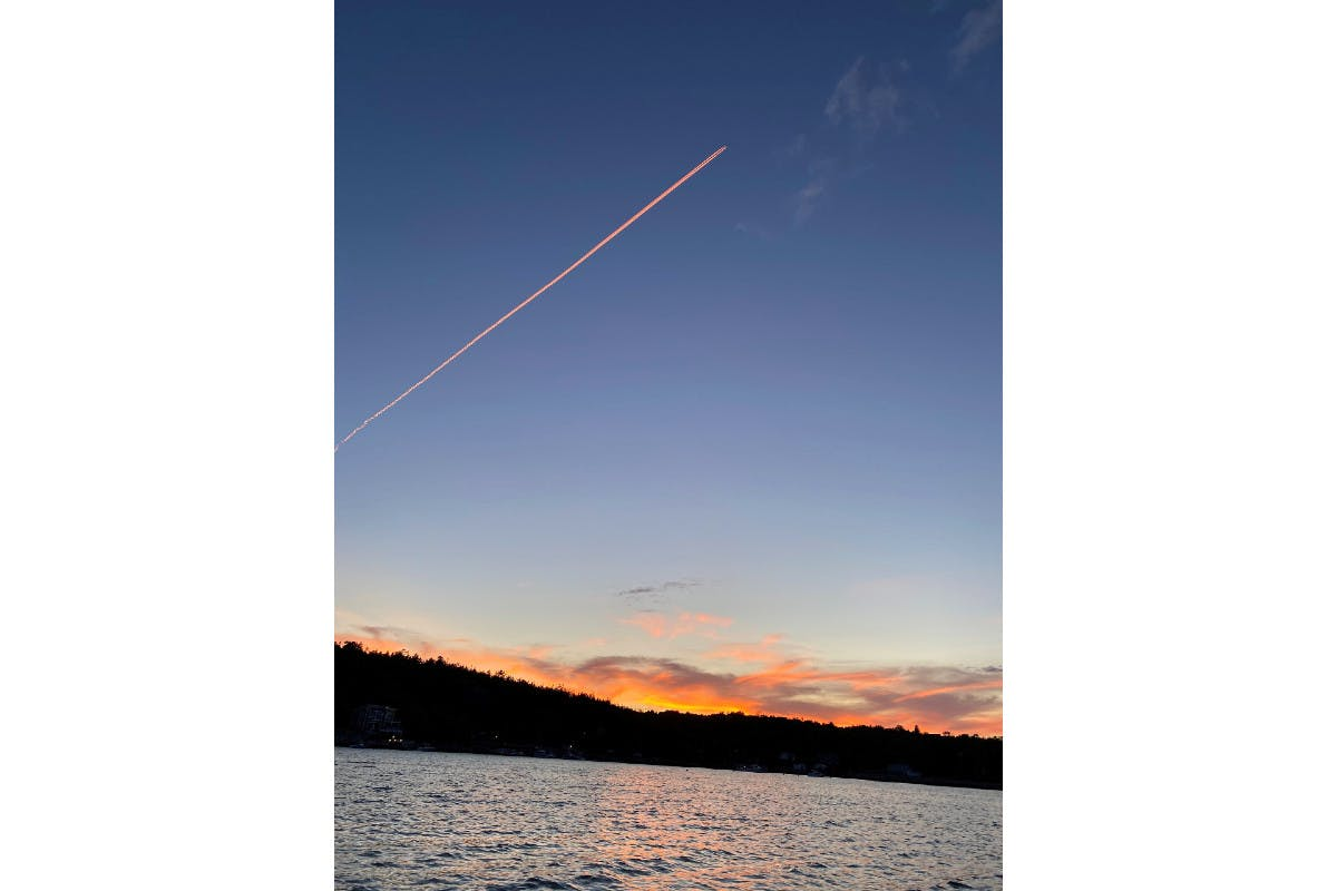 Kinnon Kendzoira sent this photo taken by his father-in-law Mick Ryan of a jet's contrail over the Northwest Arm in Halifax. Last October, I talked about the contrails in one of my Weather U columns. The white lines are ice crystal clouds formed by the combination of carbon particles and water vapour, emitted from the combustion of aviation fuel and atmospheric water vapour - usually at the same level of natural cirrus clouds (25,000 to 35,000 feet).