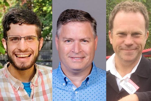 Coast of Bays-Central-Notre Dame 2021 federal election candidates (from left) Jamie Ruby (NDP), Clifford Small (Conservative), and Scott Simms (Liberal incumbent).