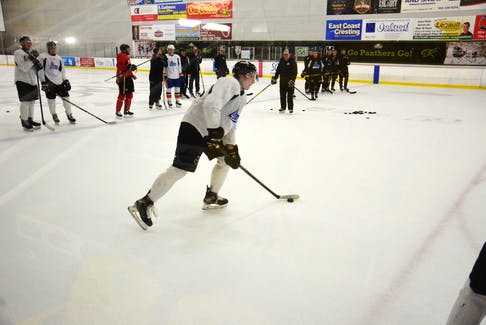 Charlottetown Islanders defenceman Ryan Maynard participates in a drill during practice at MacLauchlan Arena on Sept. 16. The Islanders host the Cape Breton Eagles in a Quebec Major Junior Hockey League game at The Mac on Sept. 18 at 4 p.m. The game is sold out and is available on the Islanders' YouTube channel.
