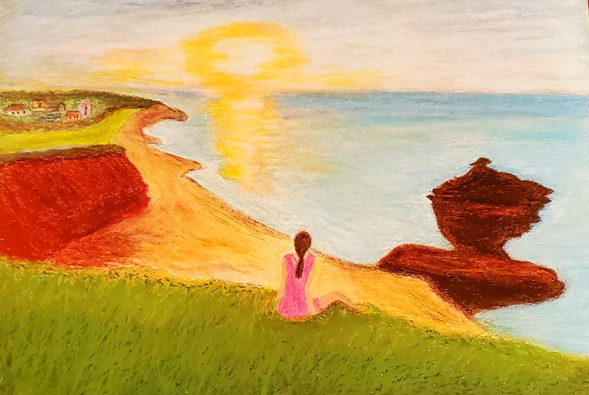 Photos are fabulous, but there's something special about an original work of art. This lovely island scene was created by Malliga Nagarajan, of Charlottetown.  It's an oil pastel crayon drawing with a reflective late summer vibe. Thank you for sharing your remarkable talent, Malliga.