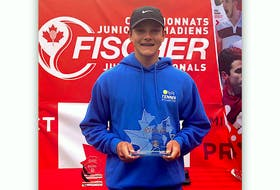 Liam Drover-Mattinen of Portugal Cove St. Philip's poses with the championship trophy after winning the boys singles title at the Fischer Canadian under-16 2021 outdoor tennis championship in Milton, Ont., on Friday. Drover-Mattinen had even more reason to smile; right after his win, he was told he has been added to Canada's team for the upcoming Junior Davis Cup. That event, featuring some of the world's top U16 players, begins Sept. 28 in Antalya, Turkey. — Contributed photo