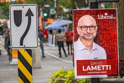 A campaign poster for Liberal candidate David Lametti in Lasalle-Emard-Verdun riding in Verdun, Quebec.
