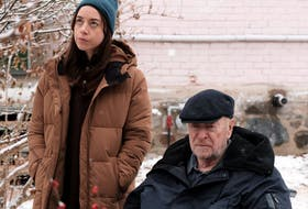 Rolling your eyes and crossing your t's: Aubrey Plaza and Michael Caine in Best Sellers.
