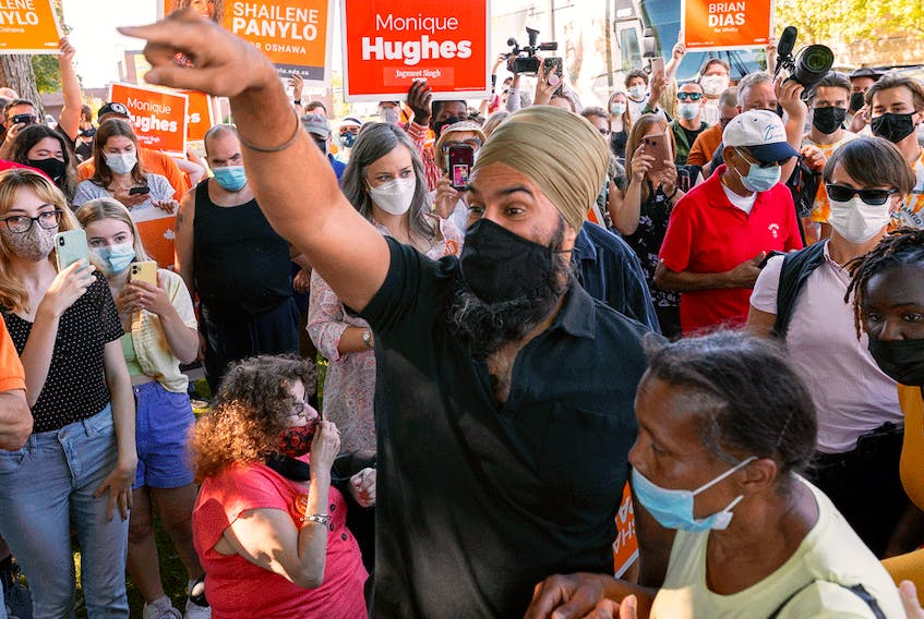 NDP leader Jagmeet Singh greets supporters during a campaign stop in Oshawa, Ontario. In a recent Leger poll, 72 per cent of NDP voters said they were not likely to switch their vote this election.
