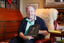 Kathleen Knowling holds a photo of her father, Ronald Ayre, a First World War bomber pilot. Newfoundlanders who served as airmen in the First World War are to be officially recognized Sunday at the National War Memorial in St. John's.