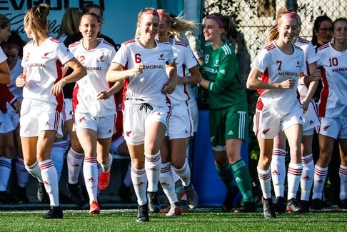 The Memorial Sea-Hawks women's soccer team has made it to the final four in the AUS playoffs over the past half-decade, but head coach Mike Power (far right) suggests this year's Sea-Hawks entry is better than its predecessors.— Memorial Athletics photo/Ally Wragg