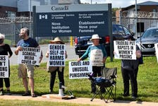 Protesters concerned with a government policy they say is being abused to male prisoners, to harm female inmates, gathered outside Truro's Nova Institution for Women Saturday afternoon.