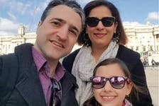 Hamed Esmaeilion (left), his wife Parisa Eghbalian and their daughter Reera Esmaeilion are shown in a handout photo. Parisa Eghbalian and Reera Esmaeilion were among the victims pf the Iran plane crash. Hamed Esmaeilion was not on the flight.