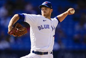 Steven Matz of the Toronto Blue Jays pitches to the Minnesota Twins in the third inning during their MLB game at the Rogers Centre on Sept. 18, 2021 in Toronto.