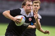 Jake Thiel, pictured during a training session on Friday, came up through B.C.'s elite youth sevens pathway. Thiel is one of only four Canadians playing at this weekend's Canada Sevens with previous world series experience.