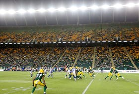 The Edmonton Elks battles the Winnipeg Blue Bombers during first half CFL action at Commonwealth Stadium, in Edmonton Saturday Sept. 18, 2021.