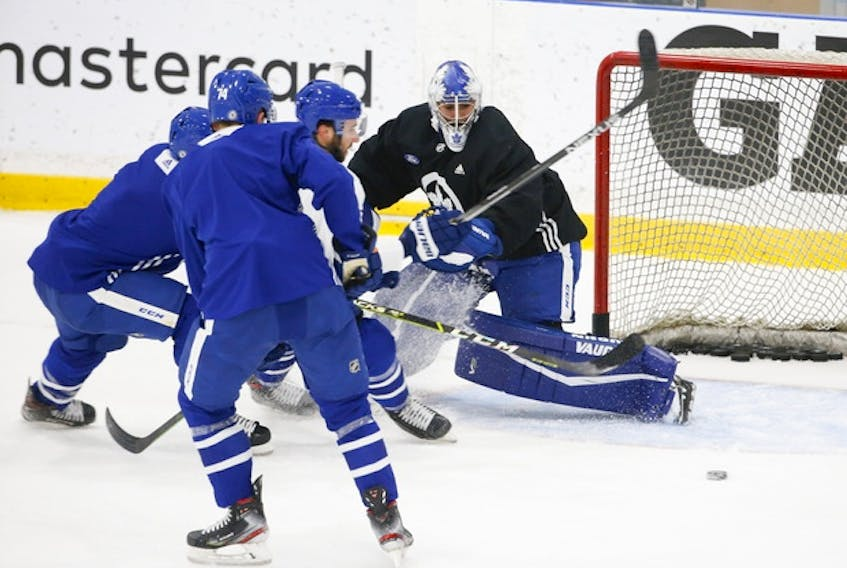 Maple Leafs goalie Petr Mrazek makes a save during a recent scrimmage. This will be Mrazek's first season in Toronto.